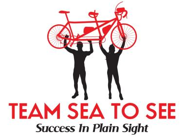 Team Sea To See Logo, Two silhouettes Holding a Tandem bike above their heads. Success In Plain Sight.