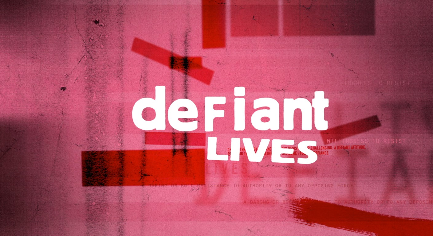 defiant Lives in white letters on pink background
