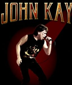 Image of John Kay singing, taken from T-Shirt