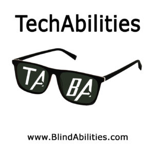 95a841b4c4 The TechAbilities Logo-Dark Sunglasses with TA and BA bold letters in each  lens.