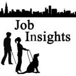 Image of man with cane and woman with service dog and City Skyline with Job Insights in bold letters.